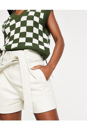 Muubaa Tie-waist paperbag leather shorts in cream-White