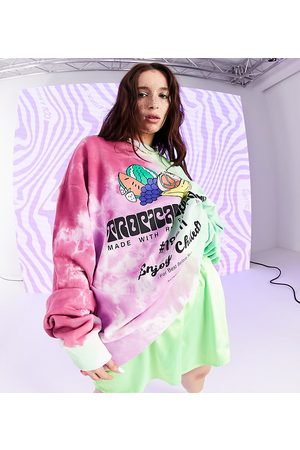 COLLUSION Unisex green and pink tie dye sweatshirt with fruit print