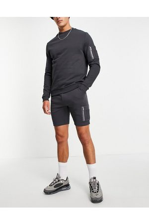 ASOS Tracksuit with sweatshirt & skinny shorts with MA1 pocket in black