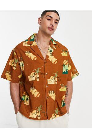 ASOS Boxy oversized deep revere shirt in conversation print