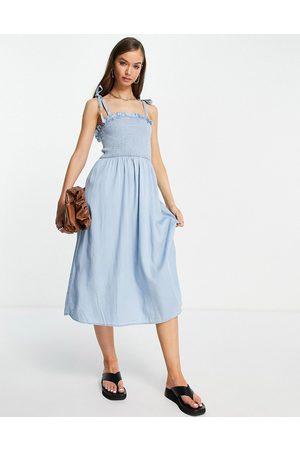 VILA Shirred cami midi dress in chambray-Multi