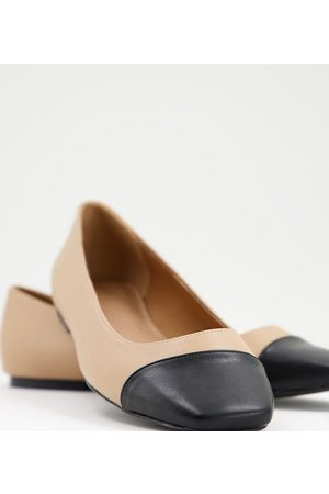 ASOS Wide Fit Locket square toe ballet flats in beige and black-Neutral