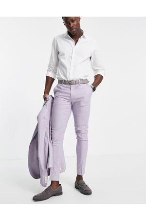 ASOS Super skinny suit pants in cotton linen-Purple