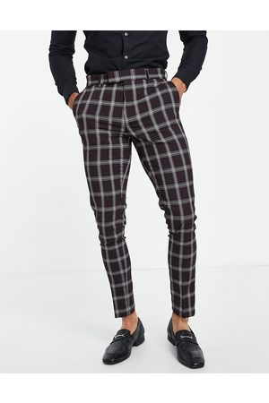 ASOS Skinny suit pants with window check in -Red