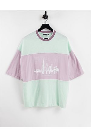 ASOS Oversized t-shirt in green & purple colour block with city print