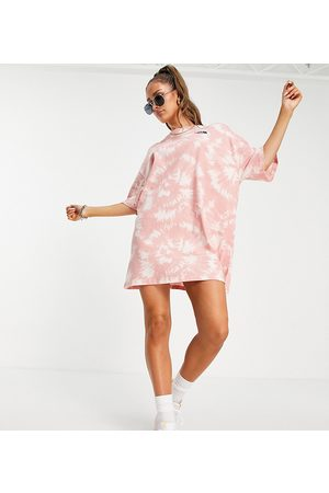 The North Face Jersey t-shirt dress in pink tie dye Exclusive at ASOS-Neutral