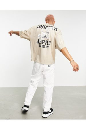 ASOS Oversized t-shirt in stone with souvenir back print-Neutral