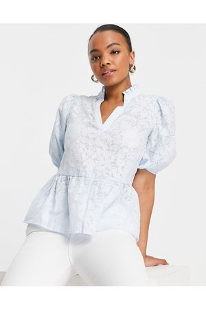 SELECTED Femme blouse with puff sleeve in -Grey