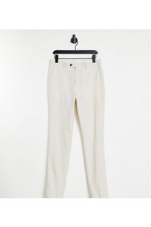 Gianni Feraud Tall Wedding linen slim fit cropped suit pants-White