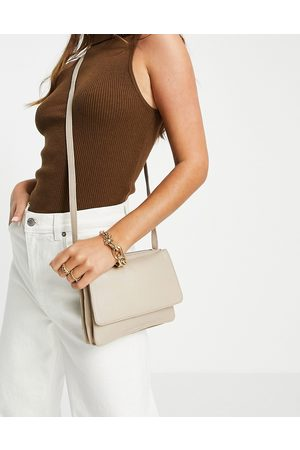 Urban Code Leather flap over crossbody bag in sand-Neutral