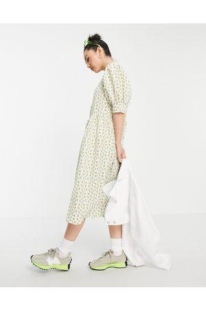 VILA Textured floral maxi dress with volume sleeve-Multi
