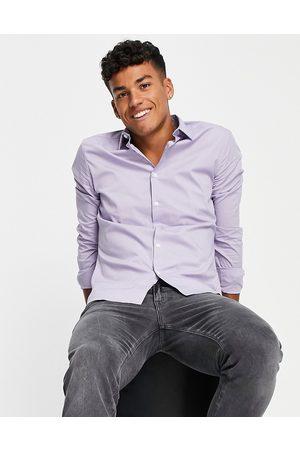 ASOS Men Business - Stretch slim shirt in -Purple