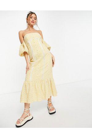 ASOS Women Party Dresses - Off shoulder button through midi dress in -Multi