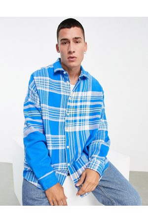 ASOS Extreme oversized shirt in flannel mixed scale patchwork tartan check