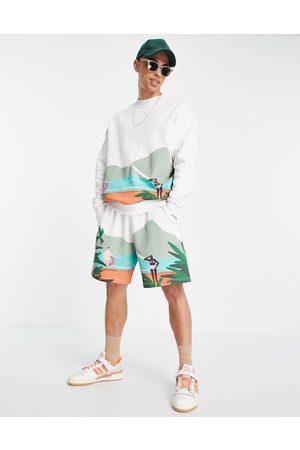 ASOS DESIGN Men Sweatshirts - Co-ord oversized sweatshirt in white with scenery print