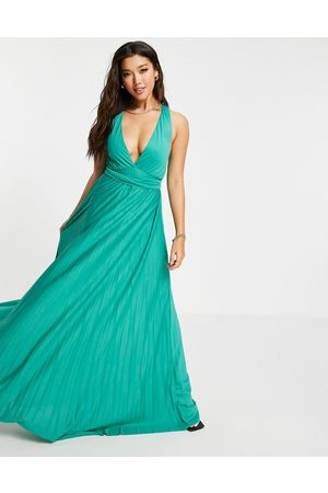 ASOS Women Evening Dresses - Plunge halter cross back self tie pleated maxi dress in -Blue