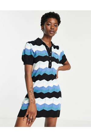 Obey Knitted polo dress in retro stripe-Blue