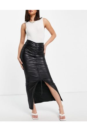 Club L Women Maxi Skirts - Ruched front high split maxi skirt in