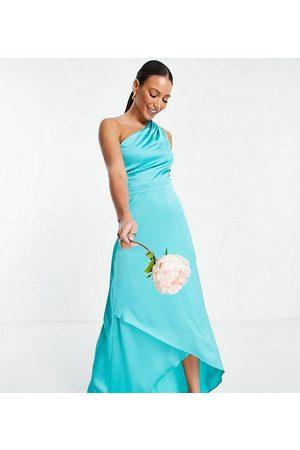 TFNC Bridesmaid one shoulder maxi dress in -Blue