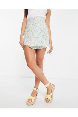 Motel Women Mini Skirts - Mini a-line wrap skirt in retro floral co-ord-Multi