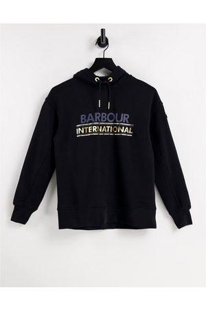 Barbour International Solitude metallic branded hoodie in