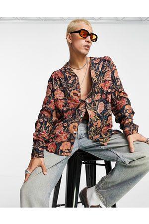 ASOS Relaxed revere shirt in burnt orange floral print