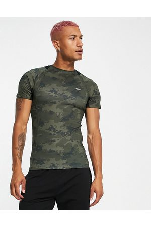ASOS Men Tops - 4505 muscle fit training T-shirt with camo print-Green