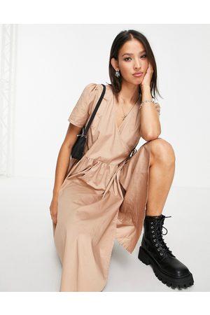 Object Women Midi Dresses - Elvira puff sleeve midi dress in beige-Neutral