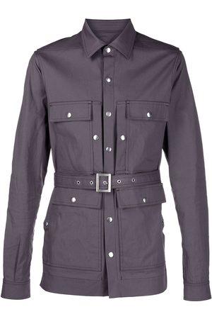 Rick Owens Men Business - Classic-collar belted shirt jacket