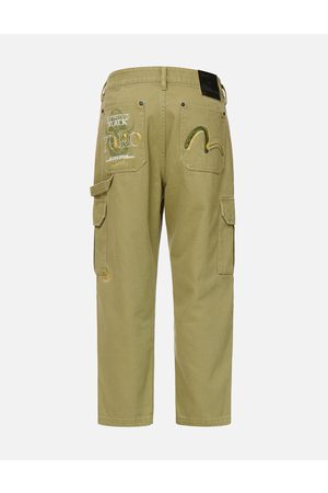 Evisu Men Cargo Pants - Hannya Skull Print Straight Fit Cargo Pants