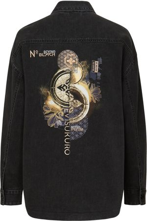Evisu Women Denim Jackets - Kamon Glitter Print Oversize Denim Shirt Jacket