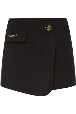 Evisu Women Shorts - Wax Seal Badge Wrap Front Skort