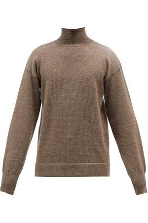 Maison Margiela Men Turtlenecks - Elbow-patch Wool Roll-neck Sweater - Mens