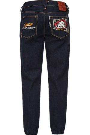Evisu Men Joggers - Godhead and Daruma Calligraphy Pocket Denim Jogger Pants