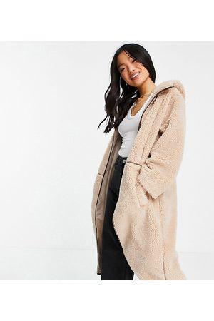 ASOS ASOS DESIGN Petite fleece coat with contrast stitching in -White