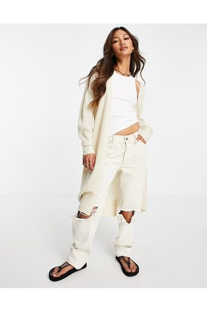 VILA Knitted maxi cardigan with tie waist in -White