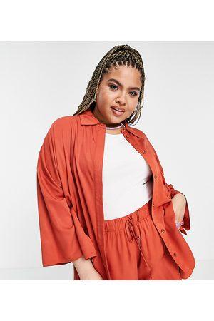 ASOS ASOS DESIGN Curve co-ord kimono sleeve overshirt in -Orange