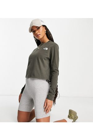 The North Face Women Crop Tops - Cropped long sleeve t-shirt in khaki Exclusive at ASOS-Green