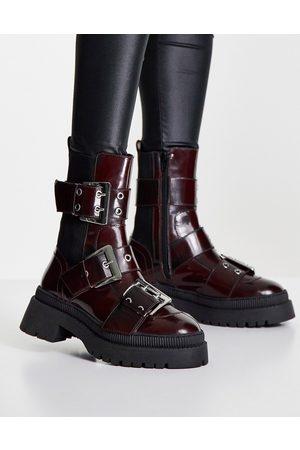 ASOS Women Cowboy & Biker Boots - Angela premium leather biker boots in -Red