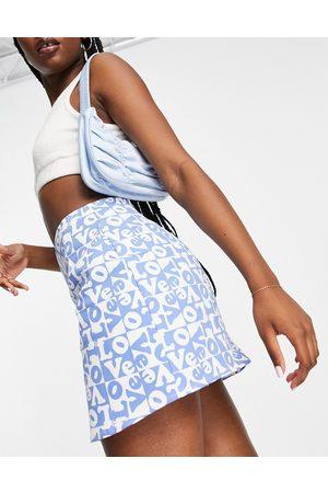 Motel Mini a-line skirt in retro love check print-Blue