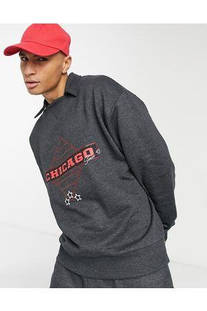 ASOS Men Sweatshirts - Co-ord oversized polo sweatshirt in dark grey marl with vintage Chicago print