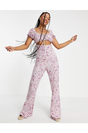 ASOS Women Jumpsuits - Cut out milk maid kickflare jumpsuit in lilac floral-Multi