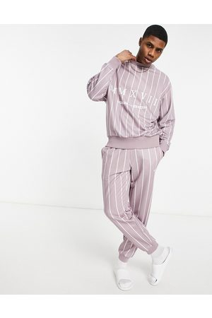 ASOS Men Sweatshirts - Co-ord oversized sweatshirt in lilac with all over stripes and Roman numerals print