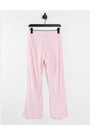 ASOS Women Wide Leg Pants - Mix & match lounge super soft rib flare pants with lettuce hem in