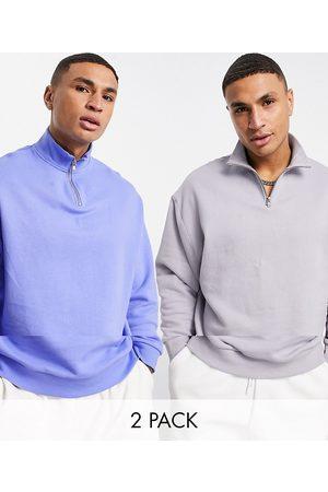 ASOS Men Sweatshirts - Oversized sweatshirt 2 pack with funnel neck in blue/purple-Multi