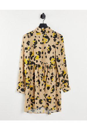 VILA Women Printed Dresses - Mini smock dress in beige print-Neutral