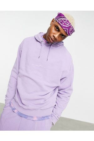 ASOS Co-ord oversized hoodie in washed purple with text print
