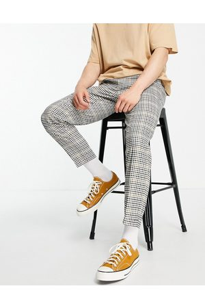 Burton Men Chinos - Burton tapered fit mini check cropped pants in mid