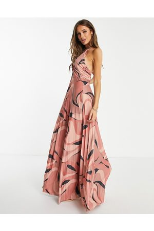 ASOS Women Halterneck Dresses - Ruched bust halter pleated maxi dress in geo print