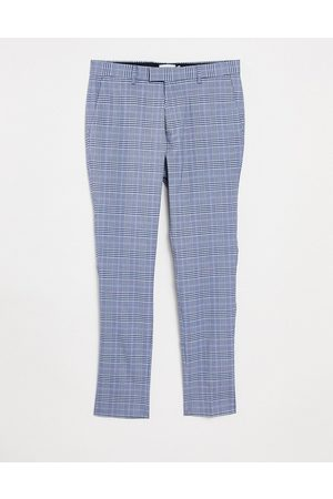 Topman Skinny checked pants in light blue and